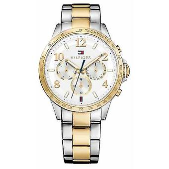 Tommy Hilfiger Womens Two Tone Strap Silver Dial 1781644 Watch