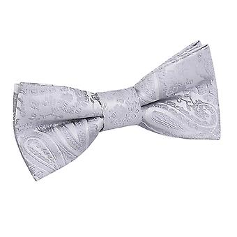 Silver Paisley Pre-Tied Bow Tie for Boys