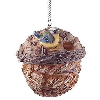 Wooden Wicker Basket Look Hanging Bird House Nesting Box