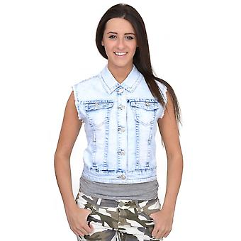 Bleached Fitted Stretch Sleeveless Denim Jacket Top