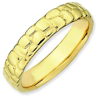 Sterling Silver Stackable Expressions Gold-plated Ring - Ring Size: 5 to 10