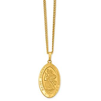 Gold-Flashed Solid Gift Boxed Engravable Spring Ring Polished and satin Lrg St. Christopher Medal Necklace- includes 24