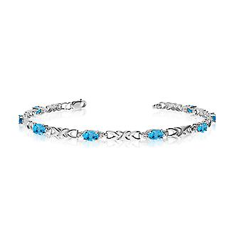 14K White Gold Oval Blue Topaz and Diamond Bracelet
