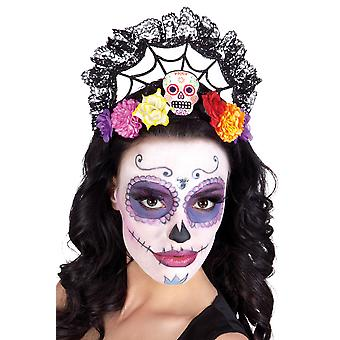 Day of the Dead Calavera Skull Candy Crown On Headband Fancy Dress Accessory.