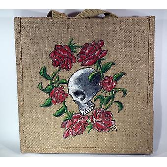 Eco Friendly Jute Bag Hand Painted Skull & Roses
