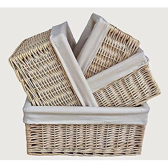 White Lined Storage Baskets Set 4
