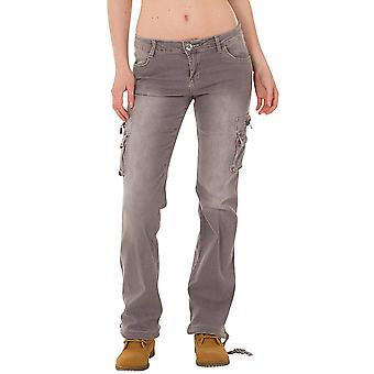 Wide Denim Cargo Jeans - Grey