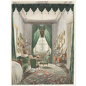 An Interior with a Curtained Bed Alcove Poster Print Giclee