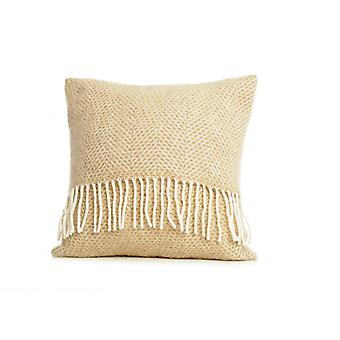 Tweedmill Pure New Wool Beehive Cushion - Beige 40cm X 40cm