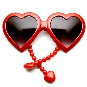 Womens Oversized Beaded Arm Temple Heart Shape Sunglasses
