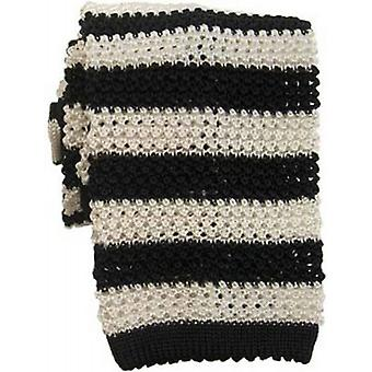 KJ Beckett Striped Silk Knitted Tie - Black/White