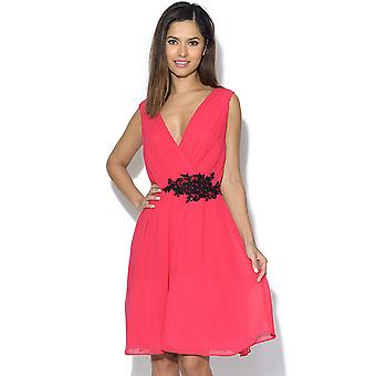 Little Mistress Cherry roze stoffen Crossover Dress