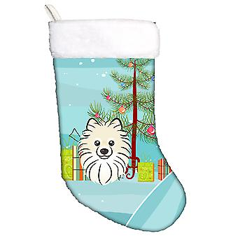 Carolines Treasures  BB1579CS Christmas Tree and Pomeranian Christmas Stocking