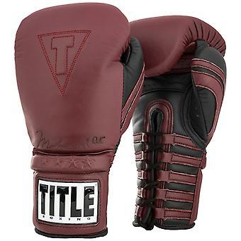 Titel boxning Ali autentiska spets upp läder utbildning boxningshandskar - Maroon