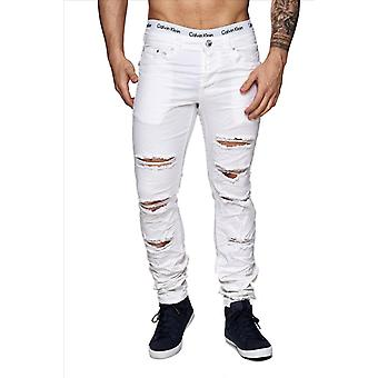 Men's style white destroyed Jeans Denim tore skinny fit cracks used look