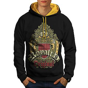 Arms Coat Lion Fashion Men Black (Gold Hood)Contrast Hoodie | Wellcoda