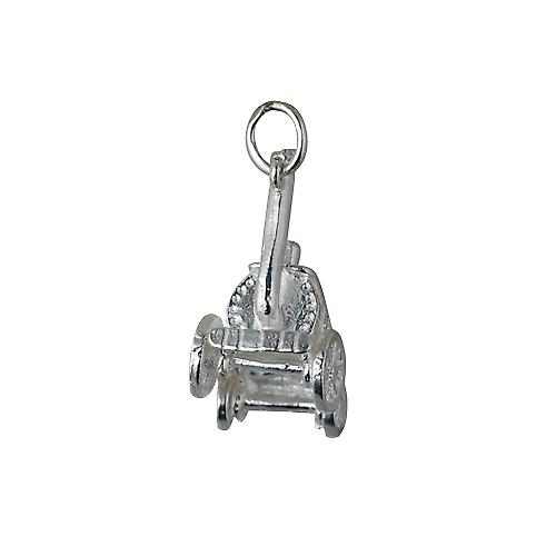 Silver 28x12mm moveable Traction Engine Pendant or Charm