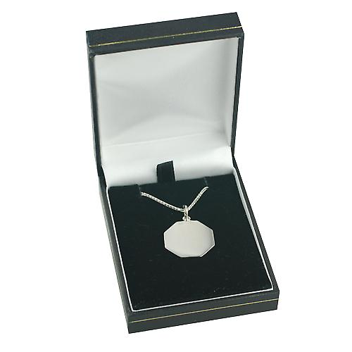 9ct White Gold 21x21mm plain hexagonal St Christopher Pendant with a spiga Chain 16 inches Only Suitable for Children