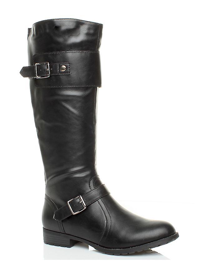Ajvani womens mid heel flat stretch wide calf zip buckle strap riding biker boots