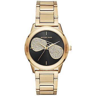 Michael Damenuhr Kors Hartman Womens Gold Edelstahl Armband schwarzes Zifferblatt MK3647