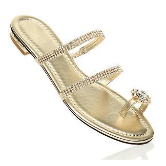 Ajvani womens flat low heel diamante toe ring strappy flip flops sandals