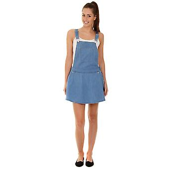 Denim Dungaree Dress - Stonewash Pinafore Ladies Skater Skirt Playsuit Jumpsuit