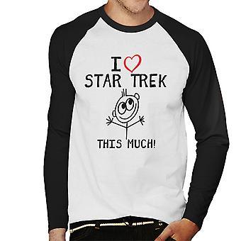 I Heart Star Trek This Much Men's Baseball Long Sleeved T-Shirt