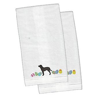 American Water Spaniel Easter White Embroidered Plush Hand Towel Set of 2