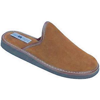 Mirak Mens Reg Suede Leather Textile Lined Mule Slipper Brown