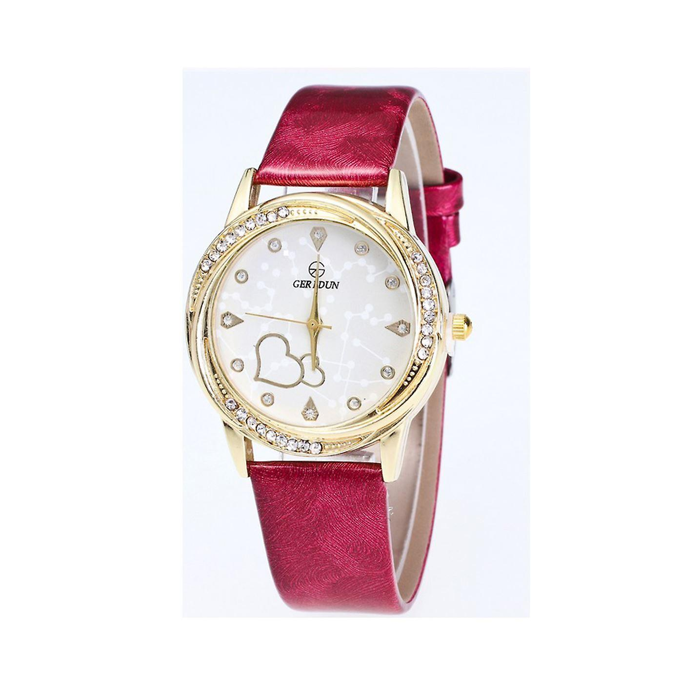 Classy Yellow Gold Heart Watch Love Clear Time Elegant