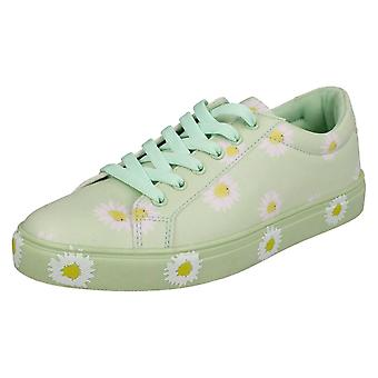 Ladies Spot On Daisy Print Pumps F80348 - Green Synthetic - UK Size 7 - EU Size 40 - US Size 9