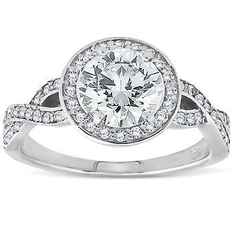 1 1 / 6ct Halo Petite Diamant Verlobungsring 14K White Gold