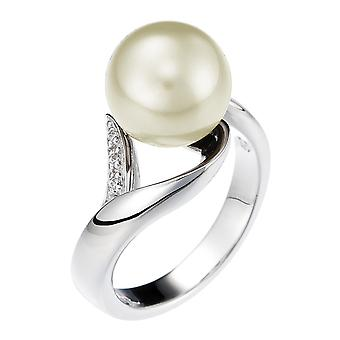 Orphelia plata 925 anillo flor perlas crema circonio ZR-3702