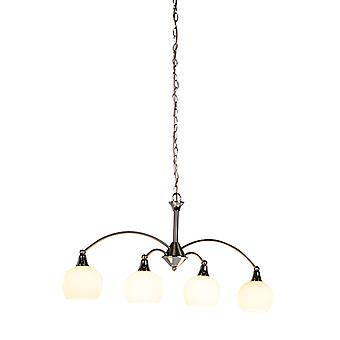 Honsel Modern Pendant Lamp Steel with 4 Milky Glass Shades - Sant