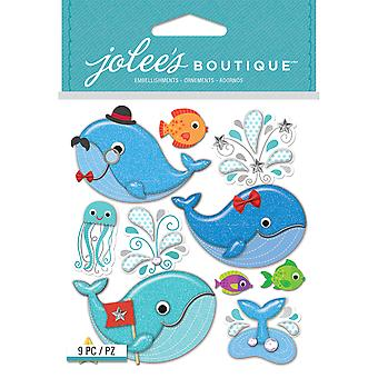 Jolee's Boutique Dimensional Stickers-Cutesy Whales