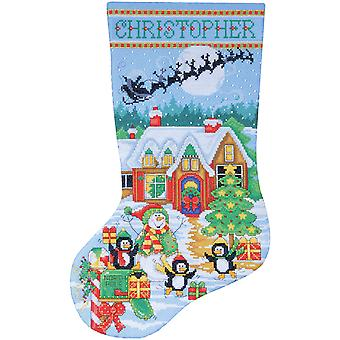 Penguin Party Stocking Counted Cross Stitch Kit-17