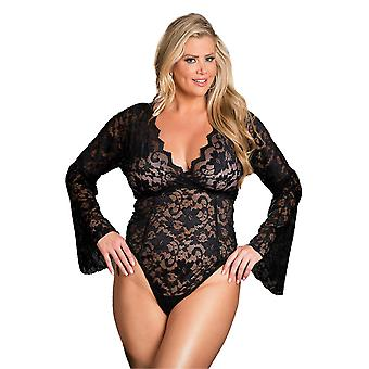 Sexy Plus Size Stretch Lace Long Bell Sleeved Bodysuit Teddy Lingerie