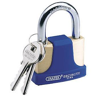 Draper 64166 52mm Solid Brass Padlock & 2 Keys Hardened Steel Shackle & Bumper