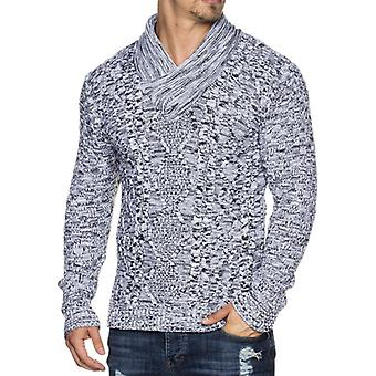 TAZZIO men's knit sweaters with shawl collar slim-fit white