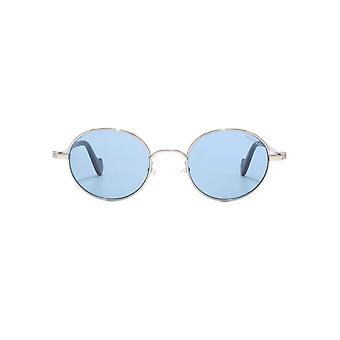 Moncler Metal Round Sunglasses In Shiny Light Ruthenium Blue Mirror