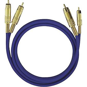 Oehlbach RCA Audio/phono Cable [2x RCA plug (phono) - 2x RCA plug (phono)] 5 m Blue gold plated connectors