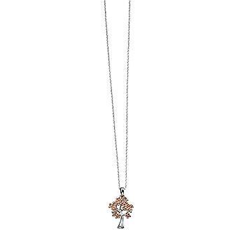 Elements Silver Tree Shape Pendant - Silver/Rose Gold