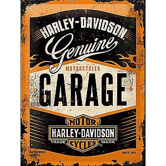 Harley Davidson Garage Large Embossed Steel Sign 400Mm X 300Mm