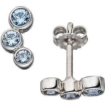 Gemstone earrings 925 sterling silver rhodium plated 6 Spinels light blue earrings