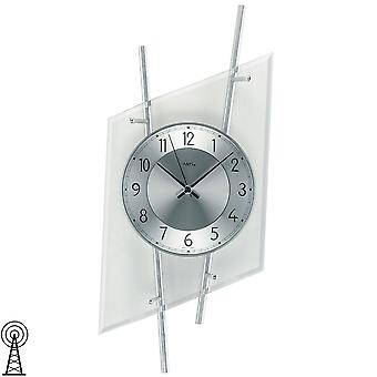 Radiocontrollato orologio moderno da parete orologio da parete in vetro minerale con argento