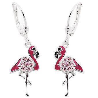 Brisur 32x9mm 925 Silver Earring stilts bird pink with pink Zircons