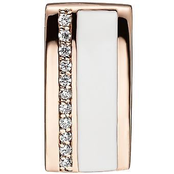 Rectangular 925 Sterling Silver Gold gold plated pendant with cubic zirconia