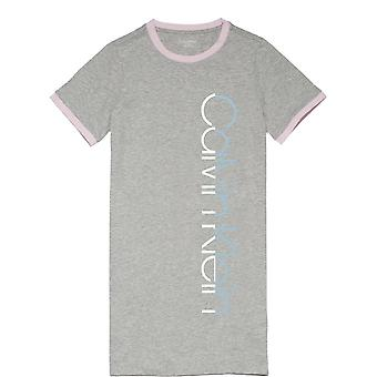 Calvin Klein Girls CK Graphic Short Sleeve Shirt/Night Dress - Grey Heather