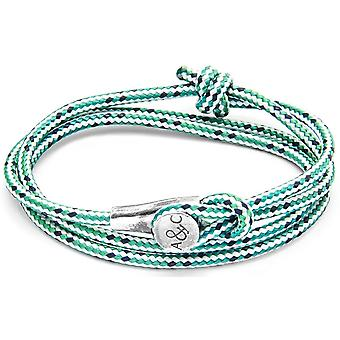 Anchor and Crew Dundee Silver and Rope Bracelet - Green Dash