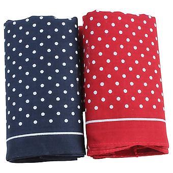David Van Hagen Classic Polka Dot Handkerchief Set - Blue/Red